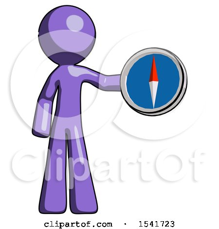 Purple Design Mascot Man Holding a Large Compass by Leo Blanchette