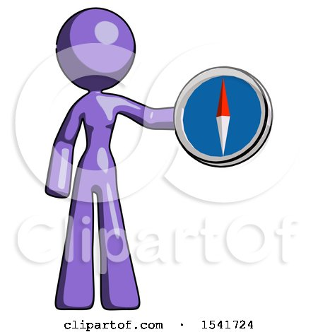 Purple Design Mascot Woman Holding a Large Compass by Leo Blanchette