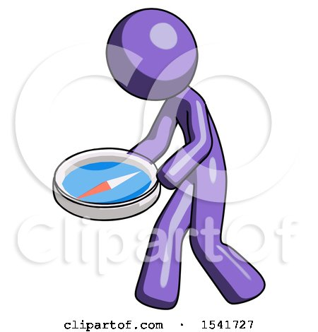 Purple Design Mascot Man Walking with Large Compass by Leo Blanchette