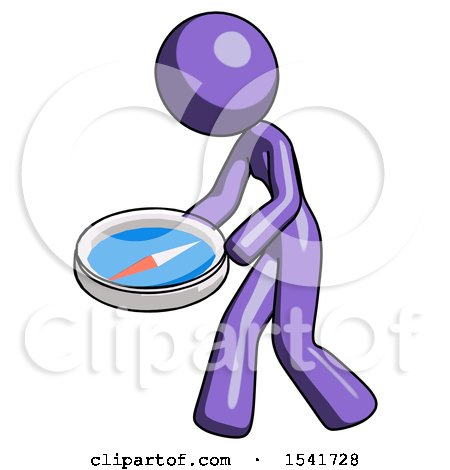 Purple Design Mascot Woman Walking with Large Compass by Leo Blanchette