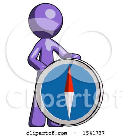 Purple Design Mascot Man Standing Beside Large Compass by Leo Blanchette