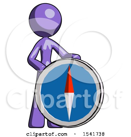 Purple Design Mascot Woman Standing Beside Large Compass by Leo Blanchette