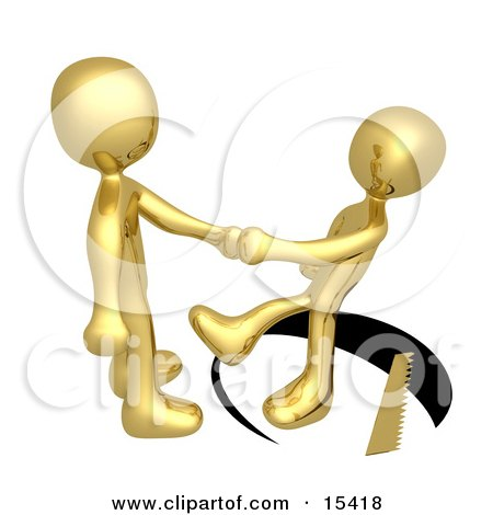 Unsuspecting Gold Man Shaking Hands On A Deal With Another Man As A Saw Cuts A Circle Out From Under Him and He Slips  Posters, Art Prints