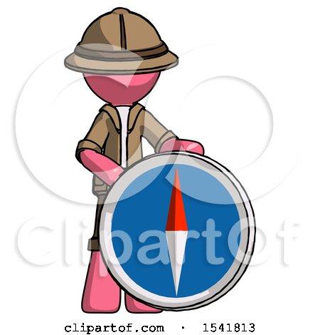 Pink Explorer Ranger Man Standing Beside Large Compass by Leo Blanchette