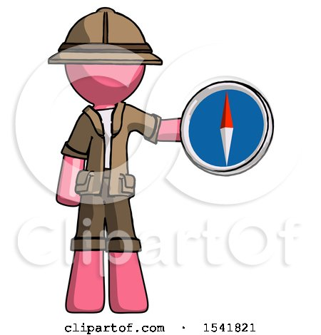 Pink Explorer Ranger Man Holding a Large Compass by Leo Blanchette