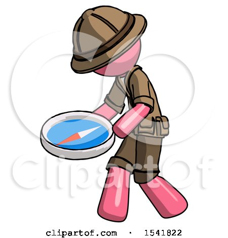 Pink Explorer Ranger Man Walking with Large Compass by Leo Blanchette