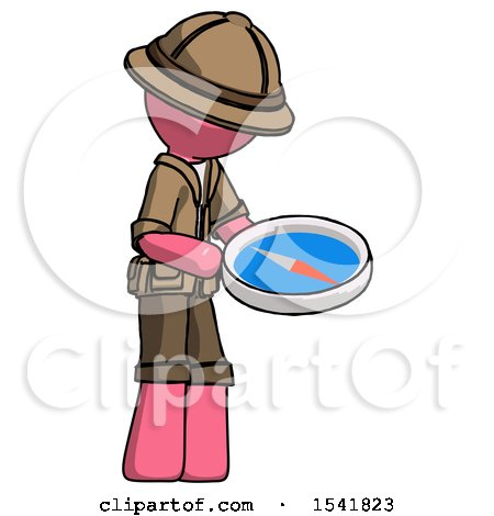 Pink Explorer Ranger Man Looking at Large Compass Facing Right by Leo Blanchette