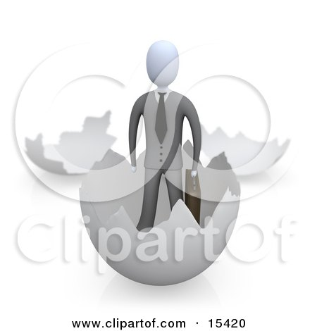 Businessman Carrying A Briefcase And Coming Out Of An Eggshell  Posters, Art Prints