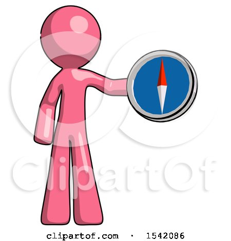 Pink Design Mascot Man Holding a Large Compass by Leo Blanchette