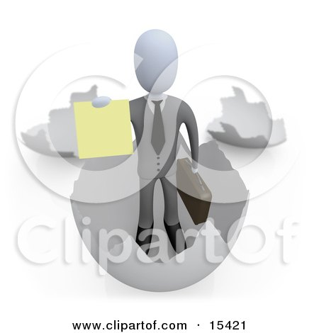 Businessman Carrying A Briefcase And Coming Out Of An Eggshell and Holding Out a Yellow Sign  Posters, Art Prints