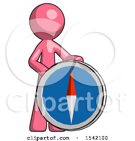 Pink Design Mascot Man Standing Beside Large Compass by Leo Blanchette