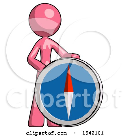 Pink Design Mascot Woman Standing Beside Large Compass by Leo Blanchette