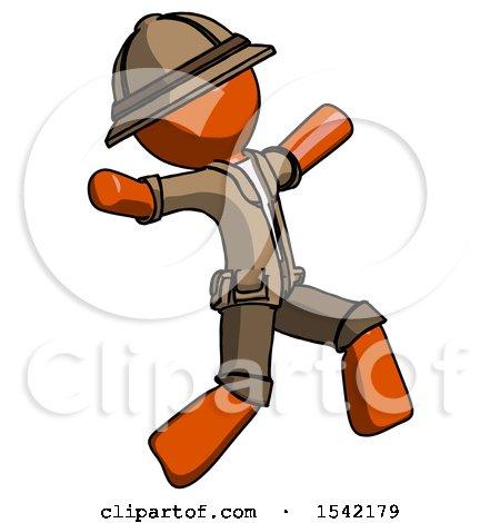 Orange Explorer Ranger Man Running Away in Hysterical Panic Direction Right by Leo Blanchette