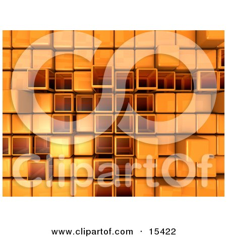 Orange Abstract Background With Cubes, Some Pushed Back, Some Sticking Outwards  Posters, Art Prints
