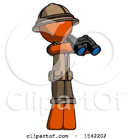 Orange Explorer Ranger Man Holding Binoculars Ready to Look Right by Leo Blanchette