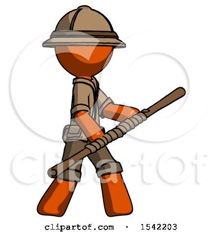 Orange Explorer Ranger Man Holding Bo Staff in Sideways Defense Pose by Leo Blanchette