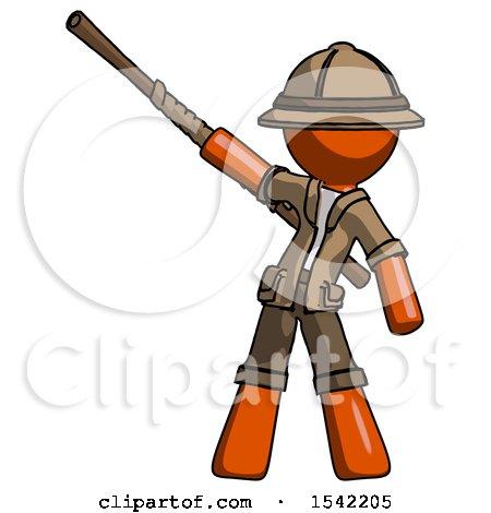 Orange Explorer Ranger Man Bo Staff Pointing up Pose by Leo Blanchette