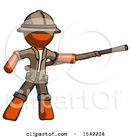 Orange Explorer Ranger Man Bo Staff Pointing Right Kung Fu Pose by Leo Blanchette