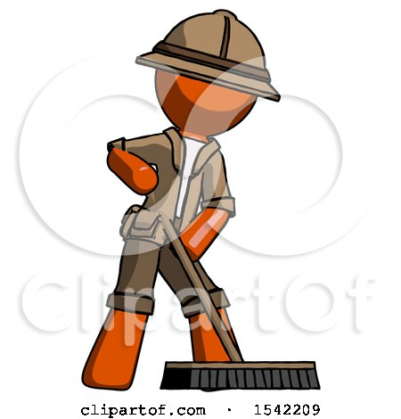 Orange Explorer Ranger Man Cleaning Services Janitor Sweeping Floor with Push Broom by Leo Blanchette