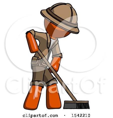 Orange Explorer Ranger Man Cleaning Services Janitor Sweeping Side View by Leo Blanchette