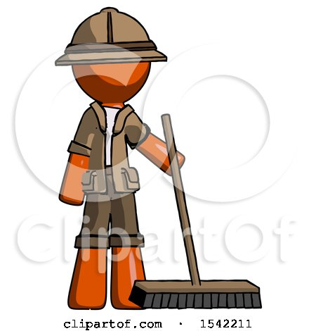 Orange Explorer Ranger Man Standing with Industrial Broom by Leo Blanchette