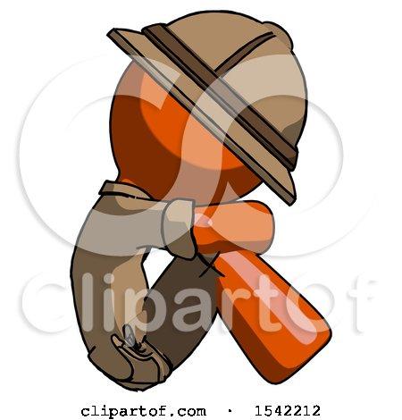 Orange Explorer Ranger Man Sitting with Head down Facing Sideways Right by Leo Blanchette