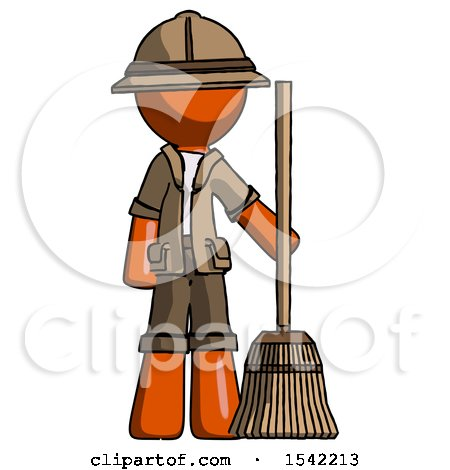 Orange Explorer Ranger Man Standing with Broom Cleaning Services by Leo Blanchette