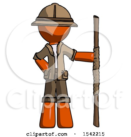 Orange Explorer Ranger Man Holding Staff or Bo Staff by Leo Blanchette