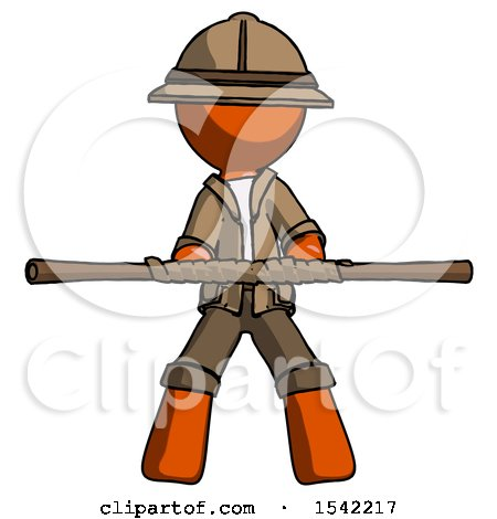 Orange Explorer Ranger Man Bo Staff Kung Fu Defense Pose by Leo Blanchette