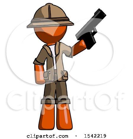 Orange Explorer Ranger Man Holding Handgun by Leo Blanchette