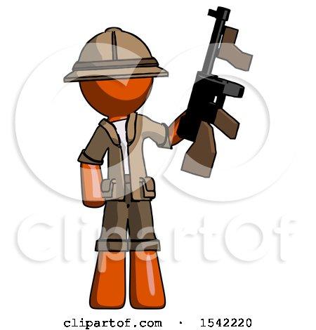 Orange Explorer Ranger Man Holding Tommygun by Leo Blanchette