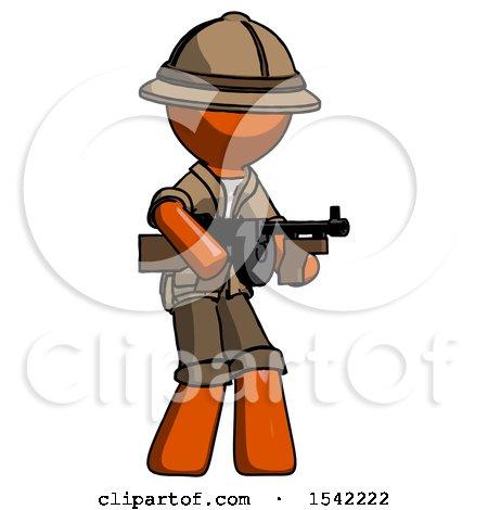 Orange Explorer Ranger Man Tommy Gun Gangster Shooting Pose by Leo Blanchette