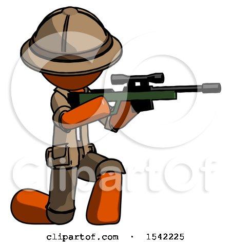 Orange Explorer Ranger Man Kneeling Shooting Sniper Rifle by Leo Blanchette