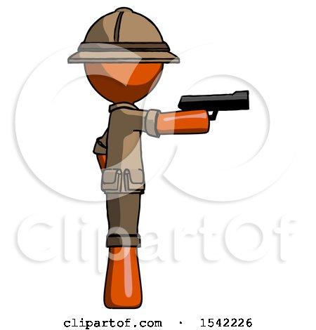 Orange Explorer Ranger Man Firing a Handgun by Leo Blanchette