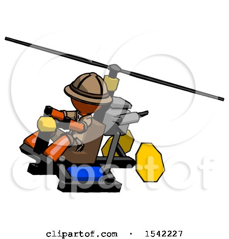 Orange Explorer Ranger Man Flying in Gyrocopter Front Side Angle Top View by Leo Blanchette