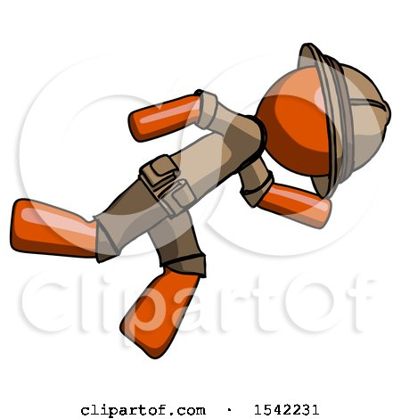 Orange Explorer Ranger Man Running While Falling down by Leo Blanchette