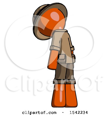 Orange Explorer Ranger Man Depressed with Head Down, Back to Viewer, Left by Leo Blanchette