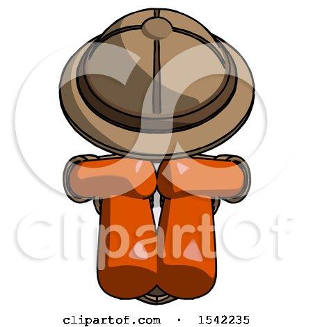 Orange Explorer Ranger Man Sitting with Head down Facing Forward by Leo Blanchette