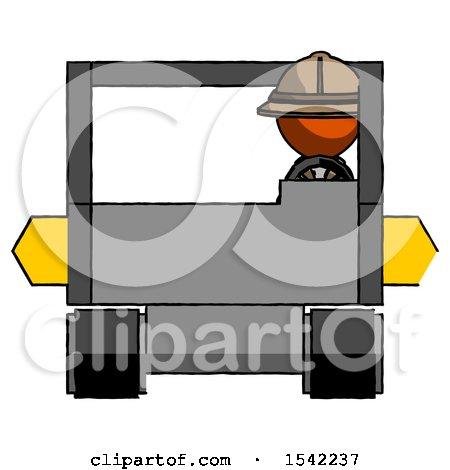 Orange Explorer Ranger Man Driving Amphibious Tracked Vehicle Front View by Leo Blanchette