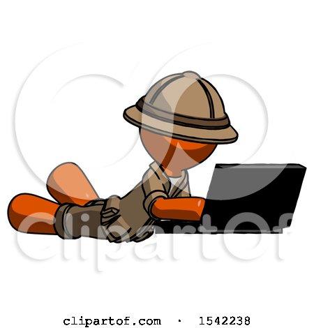 Orange Explorer Ranger Man Using Laptop Computer While Lying on Floor Side Angled View by Leo Blanchette