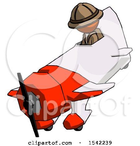 Orange Explorer Ranger Man in Geebee Stunt Plane Descending View by Leo Blanchette