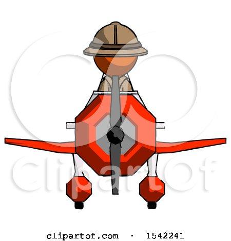 Orange Explorer Ranger Man in Geebee Stunt Plane Front View by Leo Blanchette