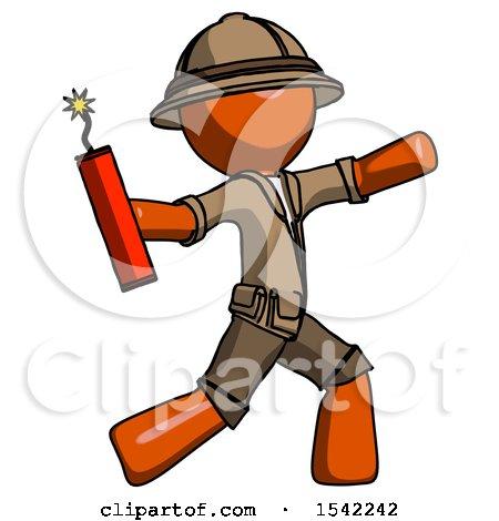 Orange Explorer Ranger Man Throwing Dynamite by Leo Blanchette