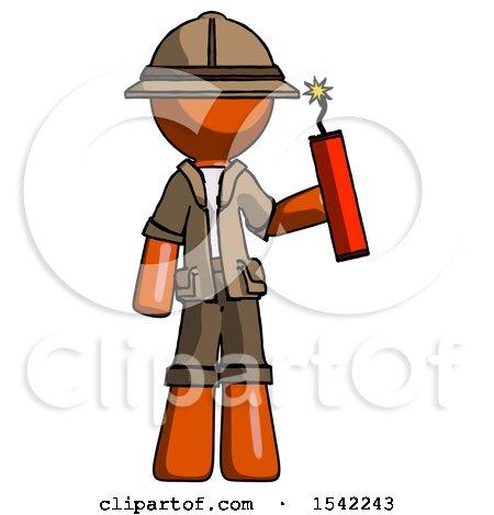 Orange Explorer Ranger Man Holding Dynamite with Fuse Lit by Leo Blanchette