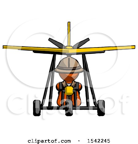 Orange Explorer Ranger Man in Ultralight Aircraft Front View by Leo Blanchette