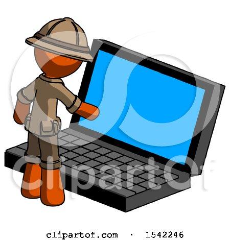 Orange Explorer Ranger Man Using Large Laptop Computer by Leo Blanchette