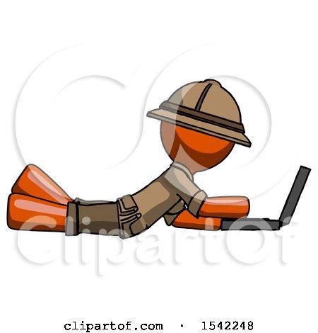 Orange Explorer Ranger Man Using Laptop Computer While Lying on Floor Side View by Leo Blanchette
