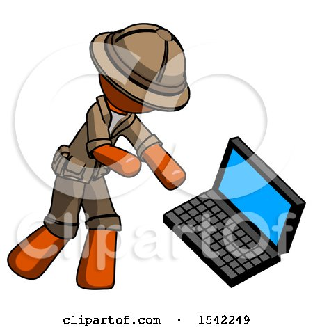 Orange Explorer Ranger Man Throwing Laptop Computer in Frustration by Leo Blanchette