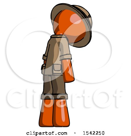 Orange Explorer Ranger Man Depressed with Head Down, Back to Viewer, Right by Leo Blanchette