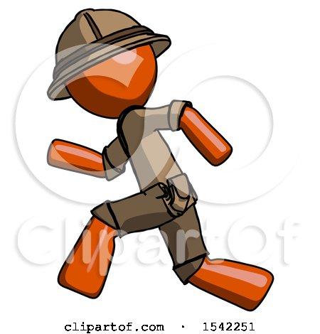 Orange Explorer Ranger Man Running Fast Left by Leo Blanchette